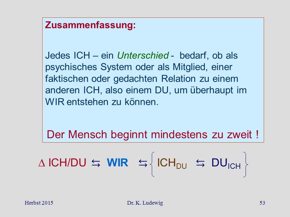 Herbst 2015Dr. K. Ludewig53 Zusammenfassung: Jedes ICH – ein Unterschied - bedarf, ob als psychisches System oder als Mitglied, einer faktischen oder