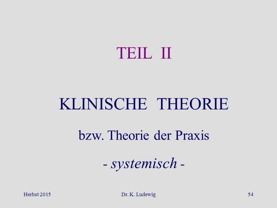 Herbst 2015Dr. K. Ludewig54 TEIL II KLINISCHE THEORIE bzw. Theorie der Praxis - systemisch -