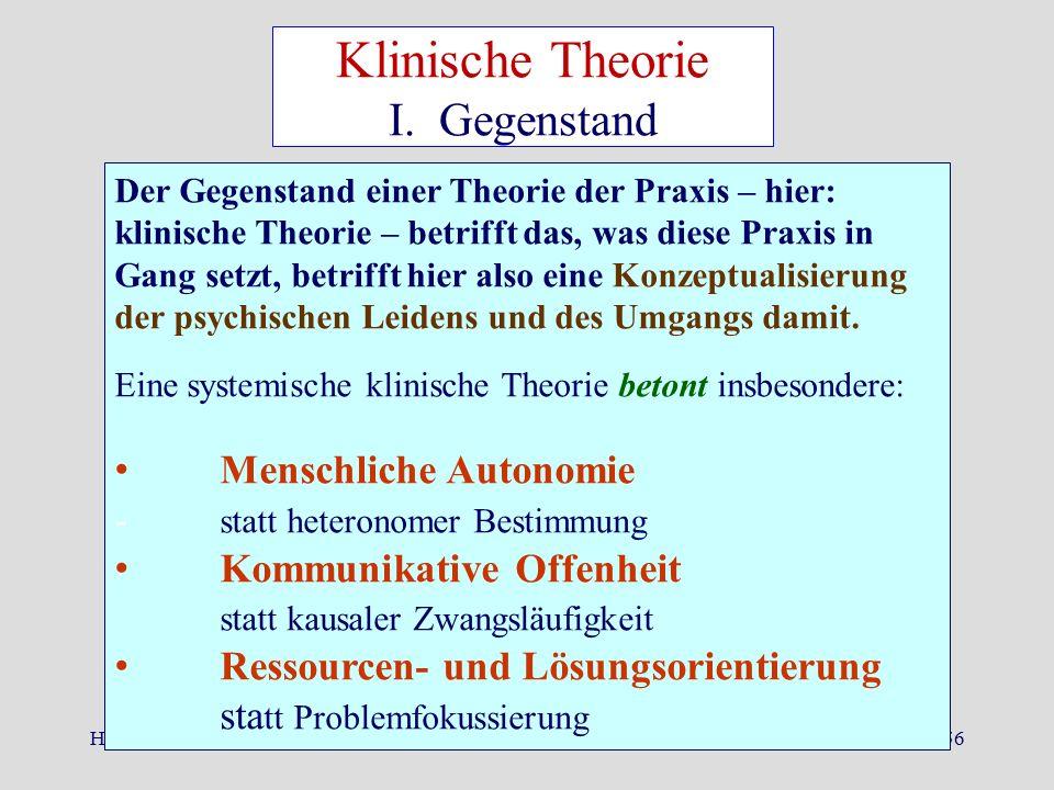 Herbst 2015Dr. K. Ludewig56 Der Gegenstand einer Theorie der Praxis – hier: klinische Theorie – betrifft das, was diese Praxis in Gang setzt, betrifft