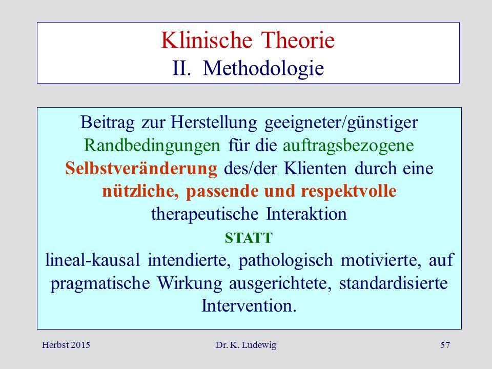 Herbst 2015Dr. K. Ludewig57 Beitrag zur Herstellung geeigneter/günstiger Randbedingungen für die auftragsbezogene Selbstveränderung des/der Klienten d
