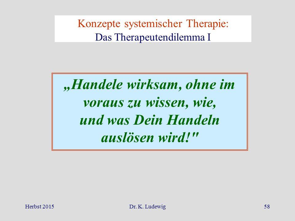 """Herbst 2015Dr. K. Ludewig58 Konzepte systemischer Therapie: Das Therapeutendilemma I """"Handele wirksam, ohne im voraus zu wissen, wie, und was Dein Han"""