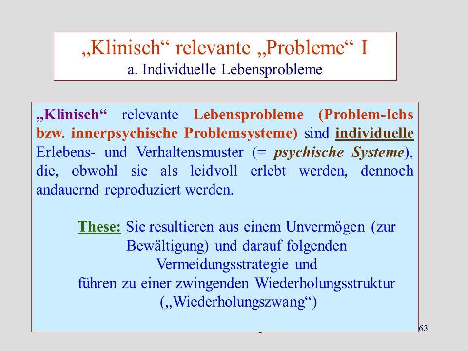 """Herbst 2015Dr. K. Ludewig63 """"Klinisch"""" relevante Lebensprobleme (Problem-Ichs bzw. innerpsychische Problemsysteme) sind individuelle Erlebens- und Ver"""