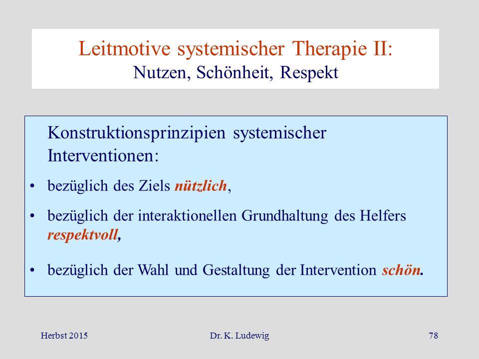 Herbst 2015Dr. K. Ludewig78 Konstruktionsprinzipien systemischer Interventionen: bezüglich des Ziels nützlich, bezüglich der interaktionellen Grundhal