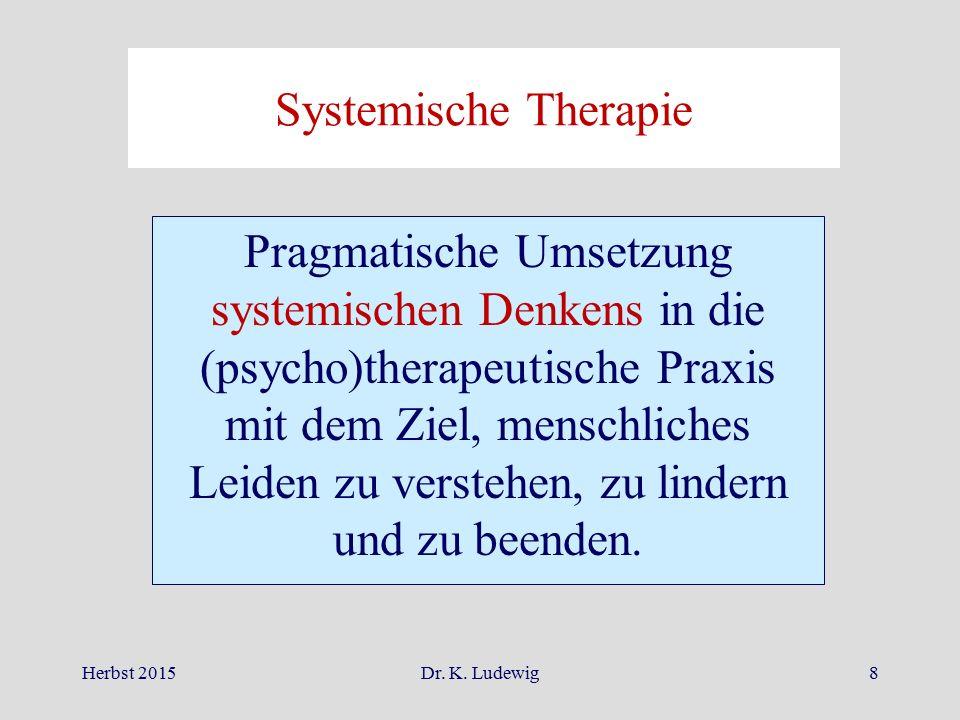 Herbst 2015Dr. K. Ludewig8 Systemische Therapie Pragmatische Umsetzung systemischen Denkens in die (psycho)therapeutische Praxis mit dem Ziel, menschl