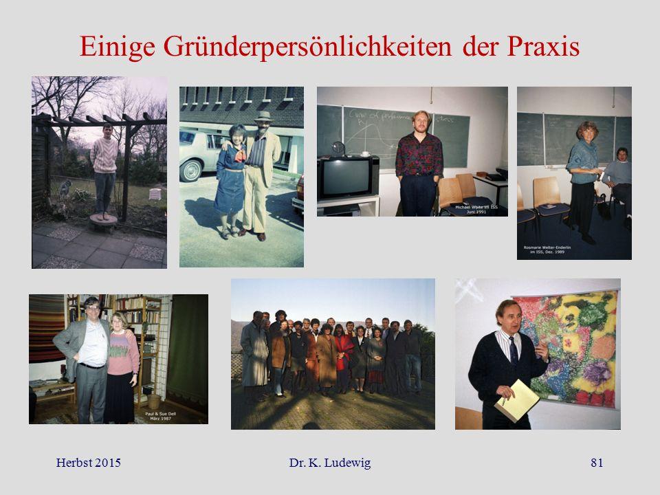 Herbst 2015Dr. K. Ludewig81 Einige Gründerpersönlichkeiten der Praxis