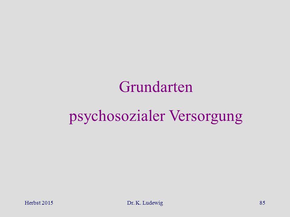Herbst 2015Dr. K. Ludewig85 Grundarten psychosozialer Versorgung