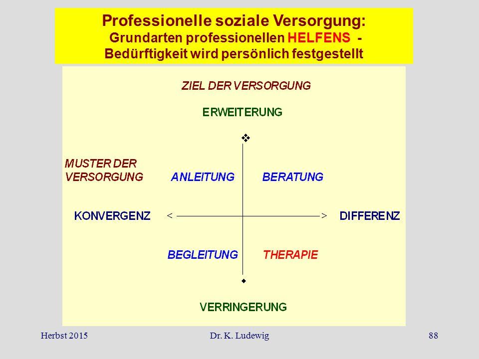 Herbst 2015Dr. K. Ludewig88 Professionelle soziale Versorgung: Grundarten professionellen HELFENS - Bedürftigkeit wird persönlich festgestellt