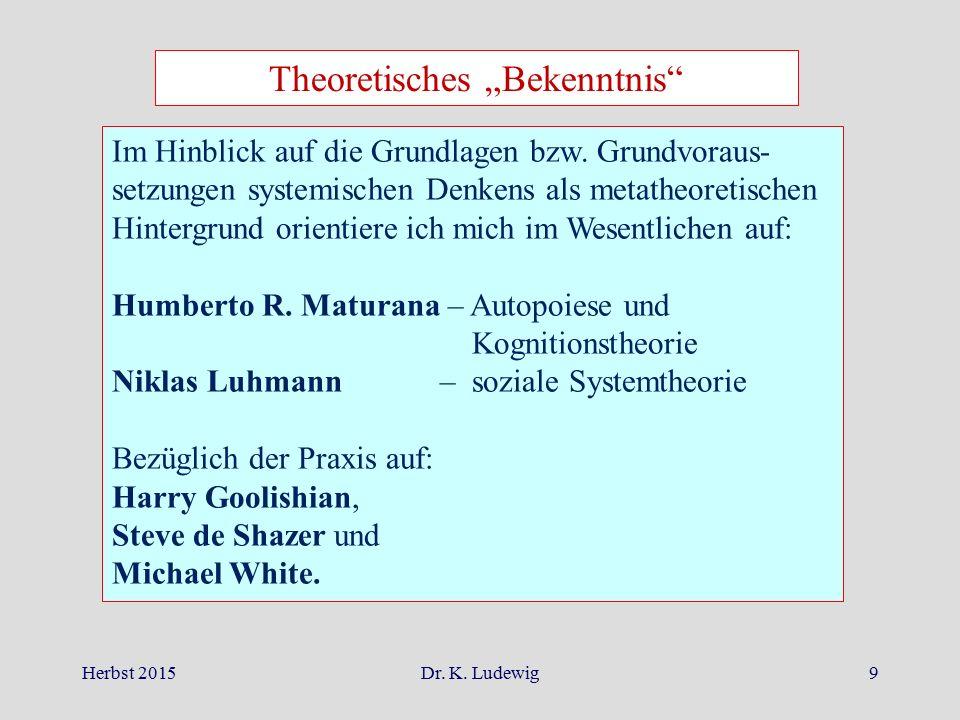 """Herbst 2015Dr. K. Ludewig9 Theoretisches """"Bekenntnis"""" Im Hinblick auf die Grundlagen bzw. Grundvoraus- setzungen systemischen Denkens als metatheoreti"""