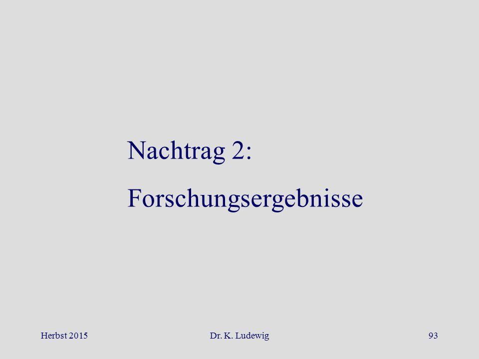 Herbst 2015Dr. K. Ludewig93 Nachtrag 2: Forschungsergebnisse