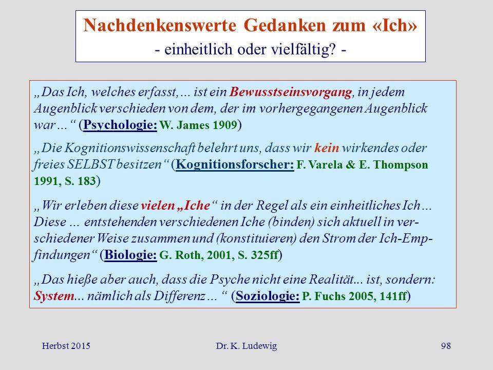 """Herbst 2015Dr. K. Ludewig98 """"Das Ich, welches erfasst,… ist ein Bewusstseinsvorgang, in jedem Augenblick verschieden von dem, der im vorhergegangenen"""