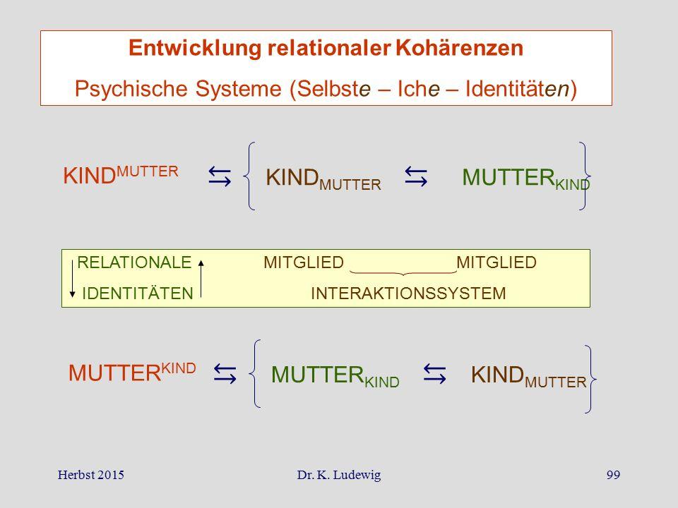 Herbst 2015Dr. K. Ludewig99 ⇆ KIND MUTTER ⇆ MUTTER KIND RELATIONALE MITGLIED MITGLIED IDENTITÄTEN INTERAKTIONSSYSTEM ⇆ MUTTER KIND ⇆ KIND MUTTER Entwi