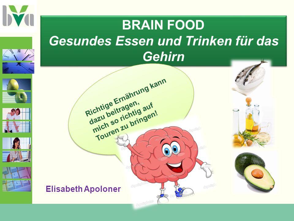 BRAIN FOOD Gesundes Essen und Trinken für das Gehirn BRAIN FOOD Gesundes Essen und Trinken für das Gehirn Richtige Ernährung kann dazu beitragen, mich so richtig auf Touren zu bringen.