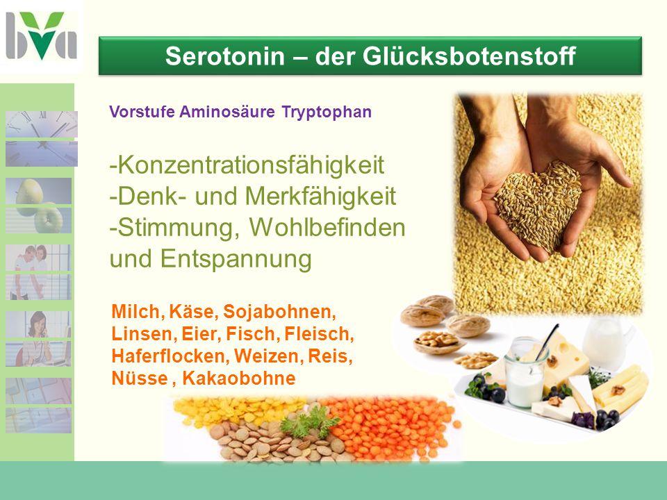 Serotonin – der Glücksbotenstoff Milch, Käse, Sojabohnen, Linsen, Eier, Fisch, Fleisch, Haferflocken, Weizen, Reis, Nüsse, Kakaobohne -Konzentrationsfähigkeit -Denk- und Merkfähigkeit -Stimmung, Wohlbefinden und Entspannung Vorstufe Aminosäure Tryptophan