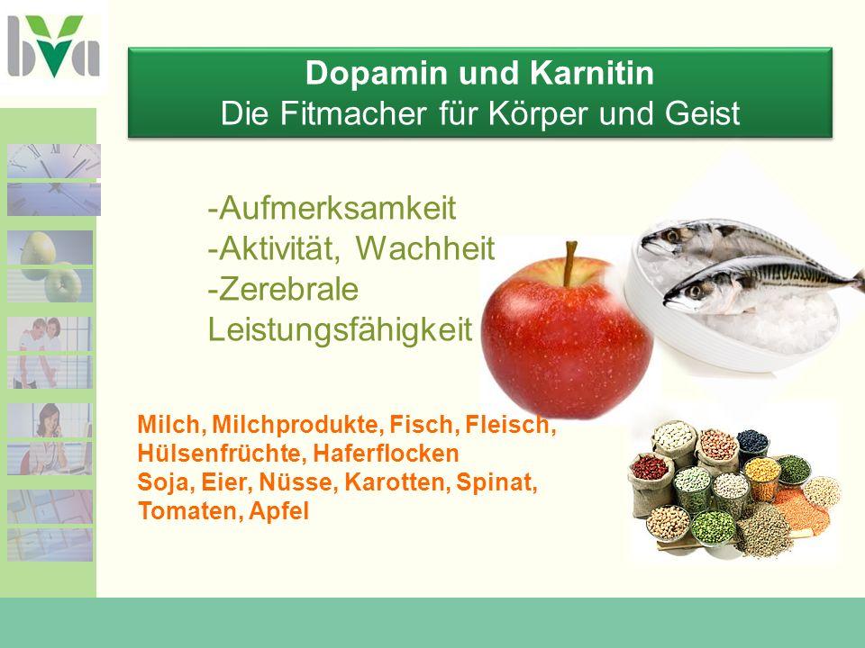 Dopamin und Karnitin Die Fitmacher für Körper und Geist Dopamin und Karnitin Die Fitmacher für Körper und Geist Milch, Milchprodukte, Fisch, Fleisch, Hülsenfrüchte, Haferflocken Soja, Eier, Nüsse, Karotten, Spinat, Tomaten, Apfel -Aufmerksamkeit -Aktivität, Wachheit -Zerebrale Leistungsfähigkeit