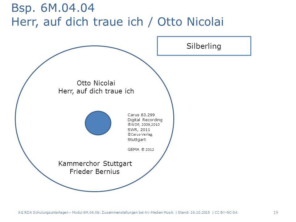 AG RDA Schulungsunterlagen – Modul 6M.04.06: Zusammenstellungen bei AV-Medien Musik | Stand: 16.10.2015 | CC BY-NC-SA Bsp.