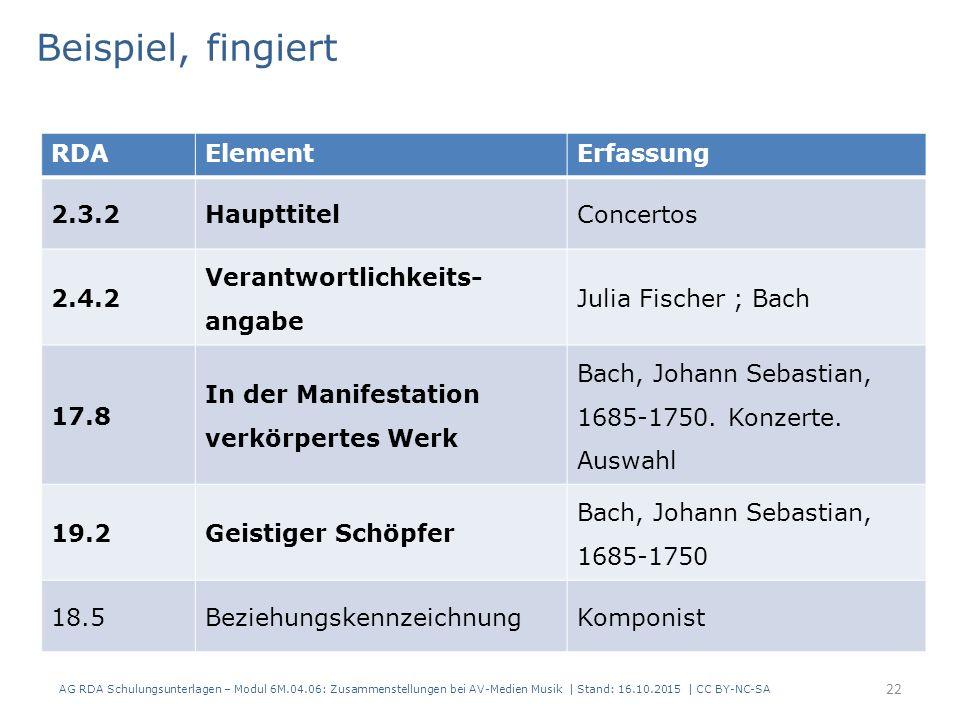 RDAElementErfassung 2.3.2HaupttitelConcertos 2.4.2 Verantwortlichkeits- angabe Julia Fischer ; Bach 17.8 In der Manifestation verkörpertes Werk Bach, Johann Sebastian, 1685-1750.