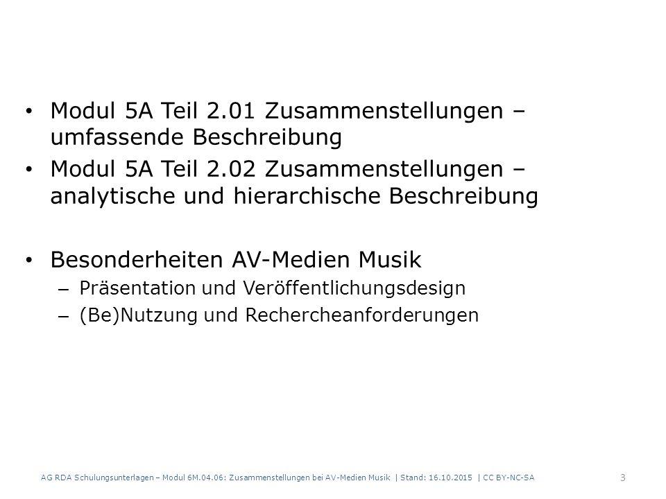 34 RDAElementErfassung 2.3.2HaupttitelFarbenspiel 2.4.2 Verantwortlichkeits- angabe Helene Fischer 17.8 In der Manifestation verkörpertes Werk Farbenspiel 20.2MitwirkenderFischer, Helene, 1984- 18.5BeziehungskennzeichnungSänger Beispiel, fingiert AG RDA Schulungsunterlagen – Modul 6M.04.06: Zusammenstellungen bei AV-Medien Musik | Stand: 16.10.2015 | CC BY-NC-SA