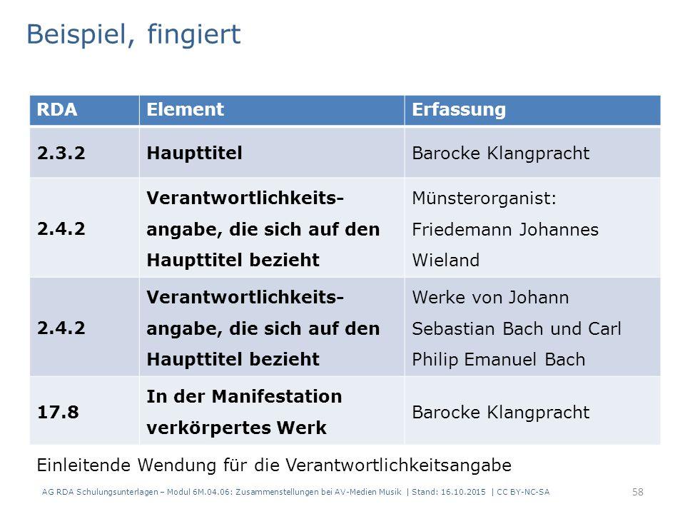 RDAElementErfassung 2.3.2HaupttitelBarocke Klangpracht 2.4.2 Verantwortlichkeits- angabe, die sich auf den Haupttitel bezieht Münsterorganist: Friedemann Johannes Wieland 2.4.2 Verantwortlichkeits- angabe, die sich auf den Haupttitel bezieht Werke von Johann Sebastian Bach und Carl Philip Emanuel Bach 17.8 In der Manifestation verkörpertes Werk Barocke Klangpracht Beispiel, fingiert Einleitende Wendung für die Verantwortlichkeitsangabe AG RDA Schulungsunterlagen – Modul 6M.04.06: Zusammenstellungen bei AV-Medien Musik | Stand: 16.10.2015 | CC BY-NC-SA 58