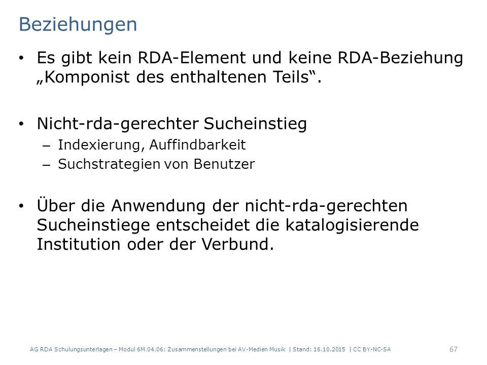 """Beziehungen Es gibt kein RDA-Element und keine RDA-Beziehung """"Komponist des enthaltenen Teils ."""