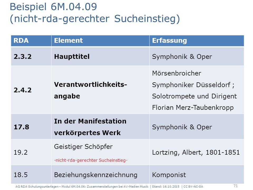 RDAElementErfassung 2.3.2HaupttitelSymphonik & Oper 2.4.2 Verantwortlichkeits- angabe Mörsenbroicher Symphoniker Düsseldorf ; Solotrompete und Dirigent Florian Merz-Taubenkropp 17.8 In der Manifestation verkörpertes Werk Symphonik & Oper 19.2 Geistiger Schöpfer -nicht-rda-gerechter Sucheinstieg- Lortzing, Albert, 1801-1851 18.5BeziehungskennzeichnungKomponist Beispiel 6M.04.09 (nicht-rda-gerechter Sucheinstieg) 71 AG RDA Schulungsunterlagen – Modul 6M.04.06: Zusammenstellungen bei AV-Medien Musik | Stand: 16.10.2015 | CC BY-NC-SA