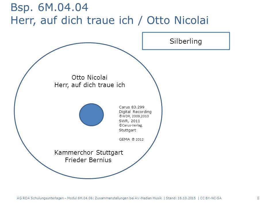 Zusammenstellungen bei AV-Medien Musik Erfassung der Teile Modul 6M 79 AG RDA Schulungsunterlagen – Modul 6M.04.06: Zusammenstellungen bei AV-Medien Musik | Stand: 16.10.2015 | CC BY-NC-SA