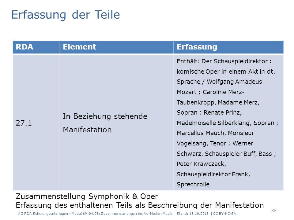RDAElementErfassung 27.1 In Beziehung stehende Manifestation Enthält: Der Schauspieldirektor : komische Oper in einem Akt in dt.