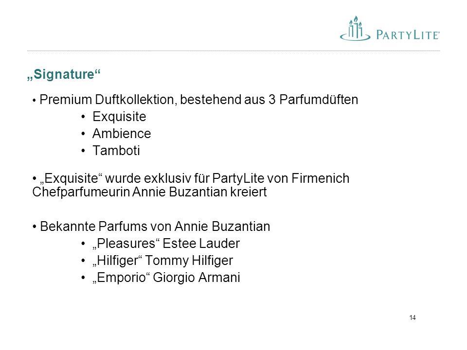 """14 """"Signature"""" Premium Duftkollektion, bestehend aus 3 Parfumdüften Exquisite Ambience Tamboti """"Exquisite"""" wurde exklusiv für PartyLite von Firmenich"""