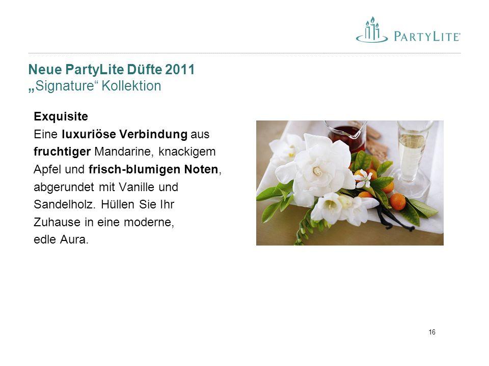 """16 Neue PartyLite Düfte 2011 """"Signature"""" Kollektion Exquisite Eine luxuriöse Verbindung aus fruchtiger Mandarine, knackigem Apfel und frisch-blumigen"""
