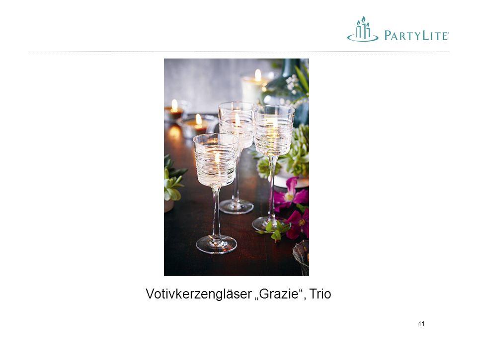 """41 Votivkerzengläser """"Grazie"""", Trio"""