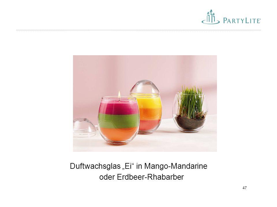 """47 Duftwachsglas """"Ei"""" in Mango-Mandarine oder Erdbeer-Rhabarber"""