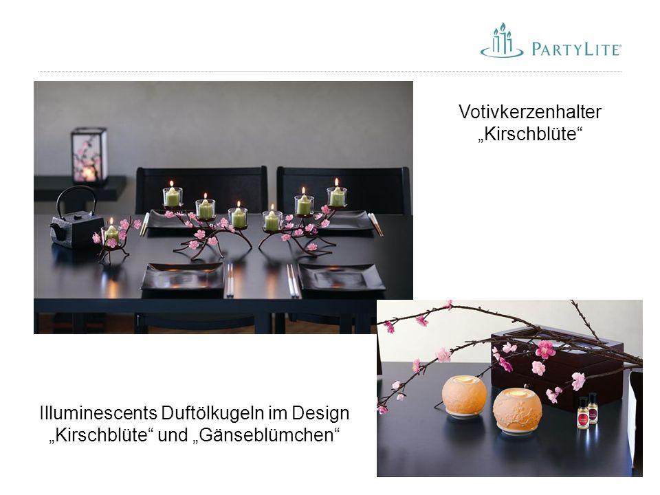 "51 Illuminescents Duftölkugeln im Design ""Kirschblüte"" und ""Gänseblümchen"" Votivkerzenhalter ""Kirschblüte"""