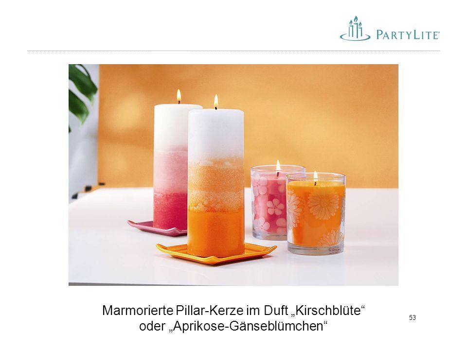 "53 Marmorierte Pillar-Kerze im Duft ""Kirschblüte"" oder ""Aprikose-Gänseblümchen"""