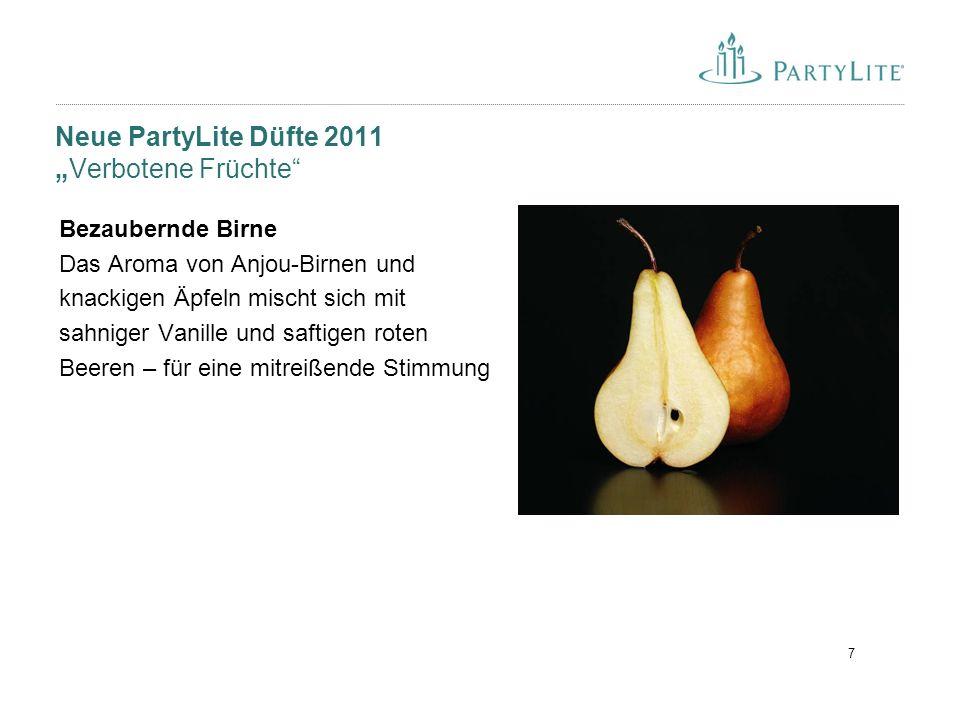 """7 Neue PartyLite Düfte 2011 """"Verbotene Früchte"""" Bezaubernde Birne Das Aroma von Anjou-Birnen und knackigen Äpfeln mischt sich mit sahniger Vanille und"""
