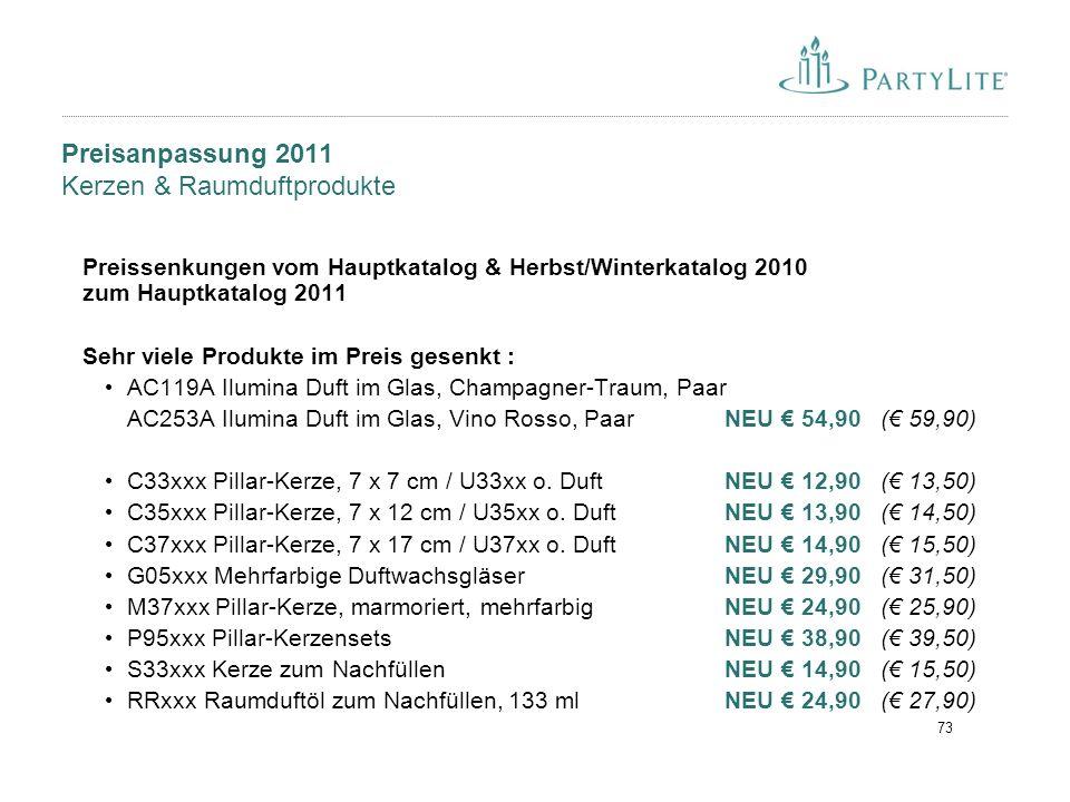 73 Preisanpassung 2011 Kerzen & Raumduftprodukte Preissenkungen vom Hauptkatalog & Herbst/Winterkatalog 2010 zum Hauptkatalog 2011 Sehr viele Produkte