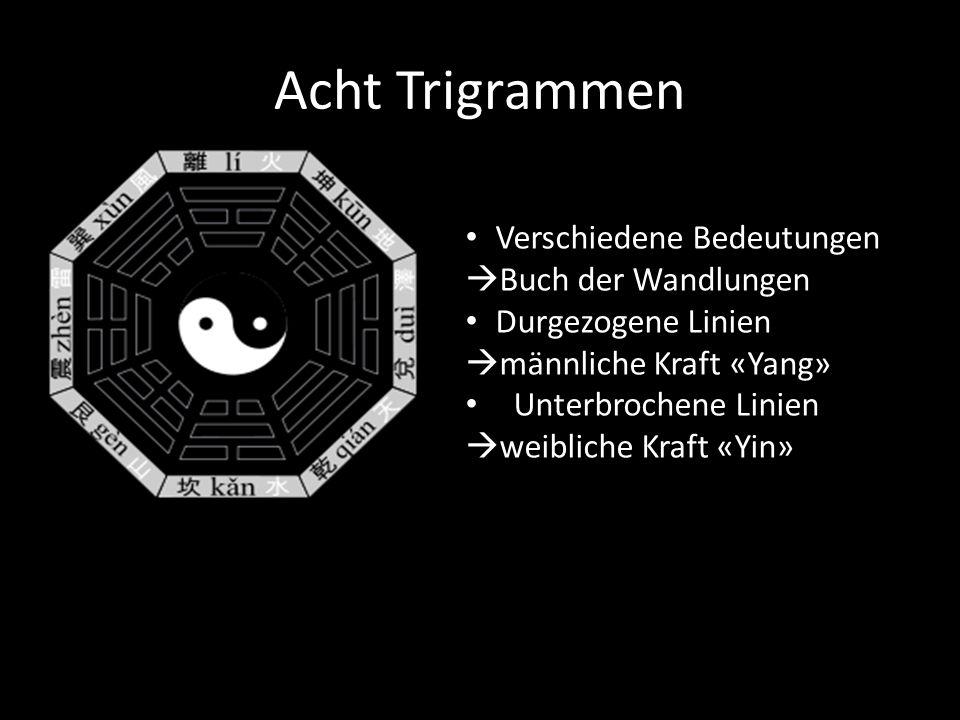 Acht Trigrammen Verschiedene Bedeutungen  Buch der Wandlungen Durgezogene Linien  männliche Kraft «Yang» Unterbrochene Linien  weibliche Kraft «Yin