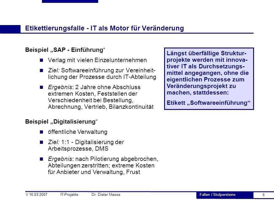 """6 V 16.03.2007 IT-Projekte Dr. Dieter Massa Etikettierungsfalle - IT als Motor für Veränderung Beispiel """"SAP - Einführung"""" n Verlag mit vielen Einzelu"""