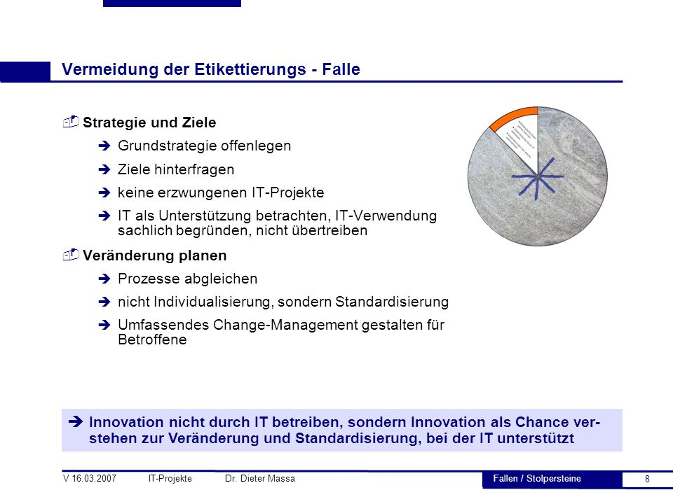 8 V 16.03.2007 IT-Projekte Dr. Dieter Massa Vermeidung der Etikettierungs - Falle  Strategie und Ziele è Grundstrategie offenlegen è Ziele hinterfrag