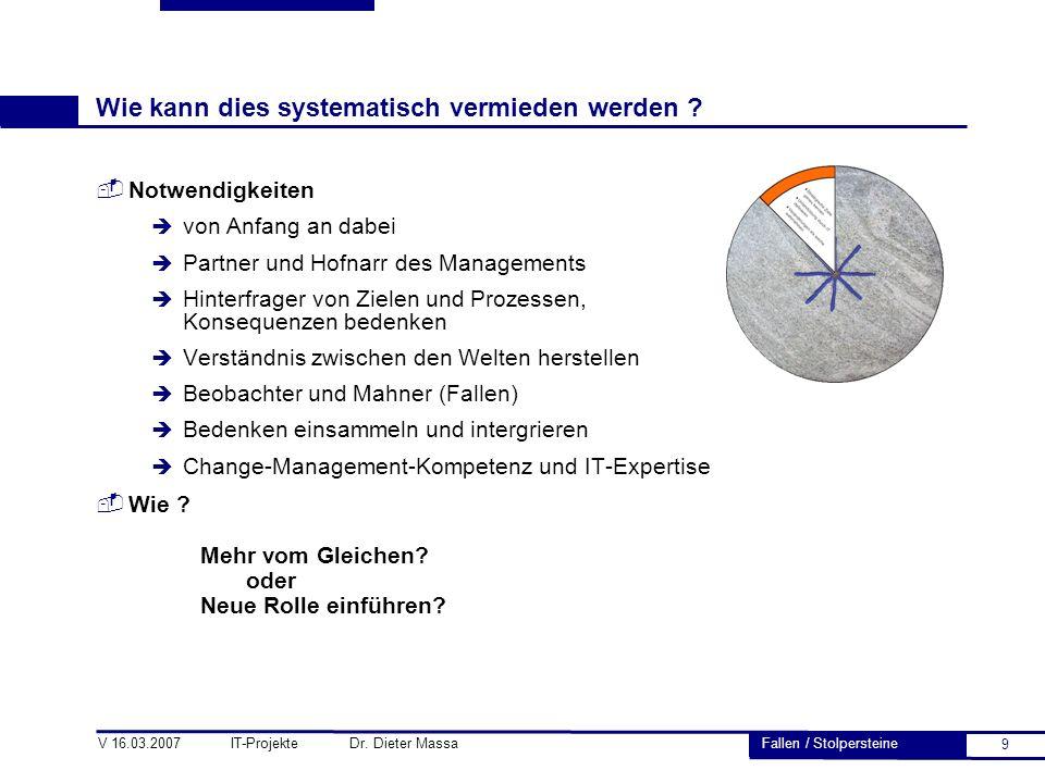 9 V 16.03.2007 IT-Projekte Dr. Dieter Massa Wie kann dies systematisch vermieden werden ?  Notwendigkeiten è von Anfang an dabei è Partner und Hofnar