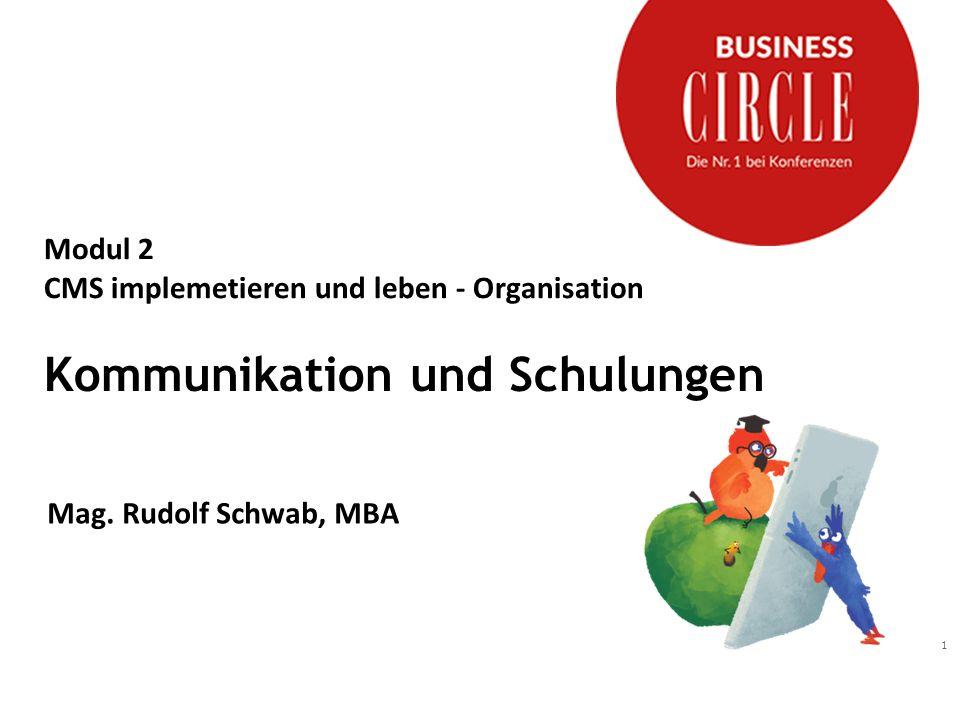 1 Modul 2 CMS implemetieren und leben - Organisation Kommunikation und Schulungen Mag. Rudolf Schwab, MBA