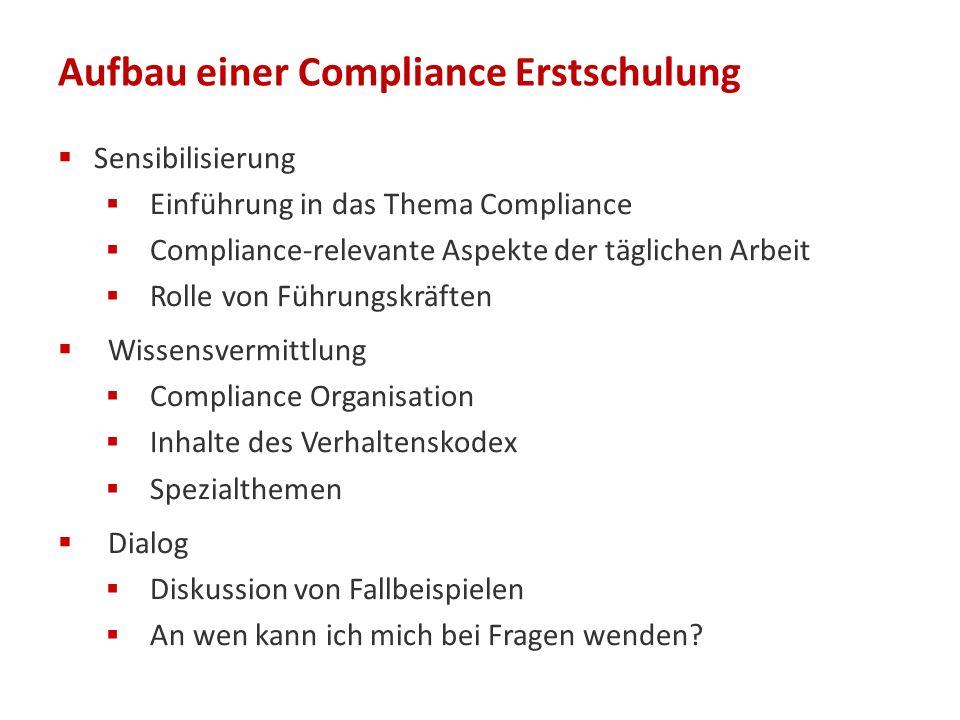 Aufbau einer Compliance Erstschulung  Sensibilisierung  Einführung in das Thema Compliance  Compliance-relevante Aspekte der täglichen Arbeit  Rol