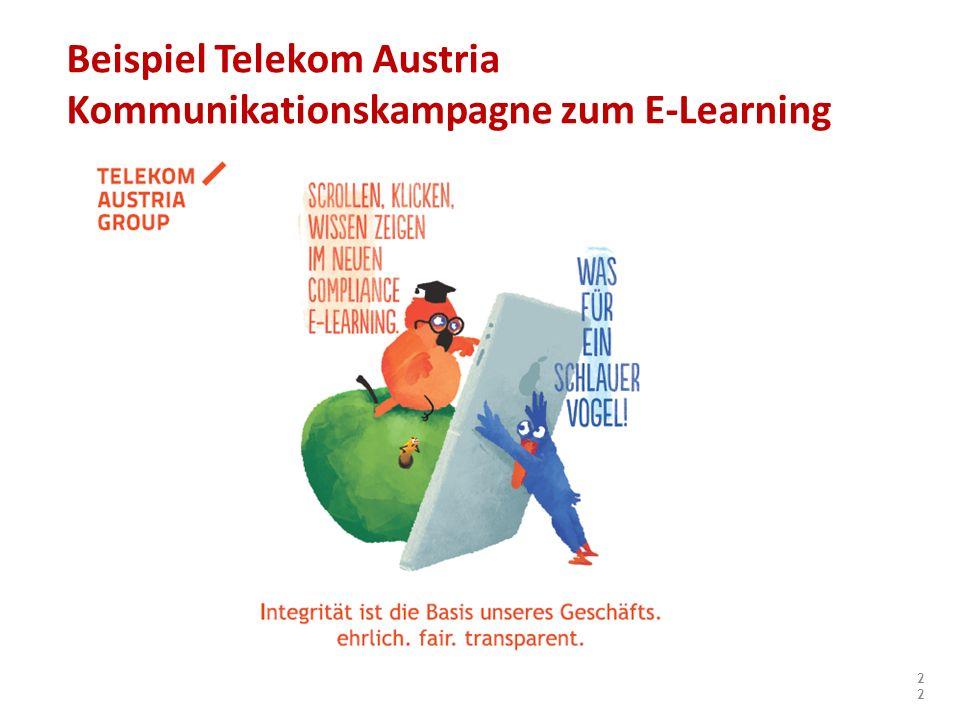 22 Beispiel Telekom Austria Kommunikationskampagne zum E-Learning
