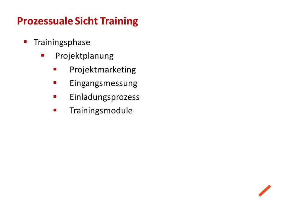 Prozessuale Sicht Training  Trainingsphase  Projektplanung  Projektmarketing  Eingangsmessung  Einladungsprozess  Trainingsmodule
