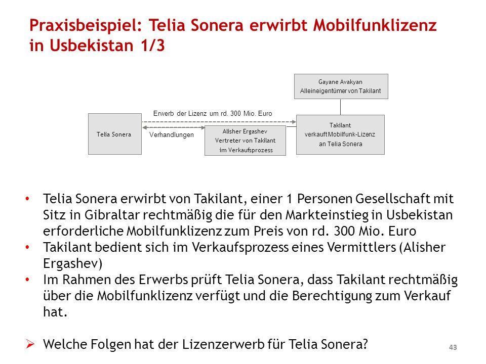 Praxisbeispiel: Telia Sonera erwirbt Mobilfunklizenz in Usbekistan 1/3 43 Telia Sonera Takilant verkauft Mobilfunk-Lizenz an Telia Sonera Erwerb der Lizenz um rd.