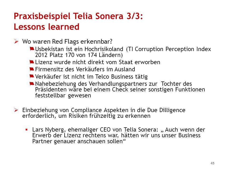 Praxisbeispiel Telia Sonera 3/3: Lessons learned  Wo waren Red Flags erkennbar? Usbekistan ist ein Hochrisikoland (TI Corruption Perception Index 201