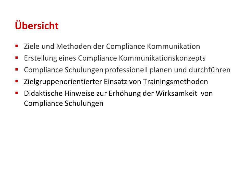 Übersicht  Ziele und Methoden der Compliance Kommunikation  Erstellung eines Compliance Kommunikationskonzepts  Compliance Schulungen professionell planen und durchführen  Zielgruppenorientierter Einsatz von Trainingsmethoden  Didaktische Hinweise zur Erhöhung der Wirksamkeit von Compliance Schulungen