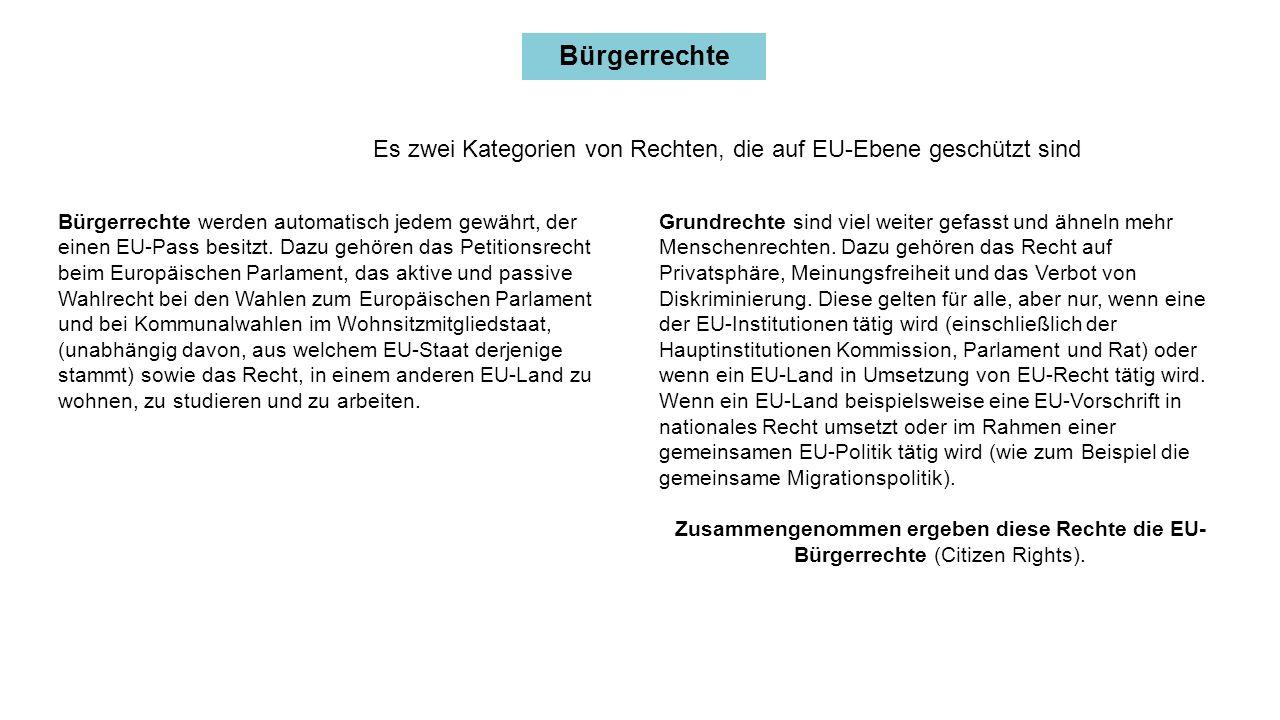 Bürgerrechte Bürgerrechte werden automatisch jedem gewährt, der einen EU-Pass besitzt.