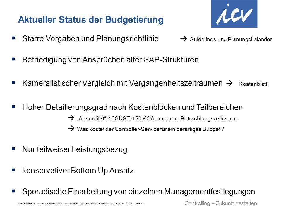 Internationaler Controller Verein eV | www.controllerverein.com | AK Berlin-Brandenburg | 57. AKT 18.09.2015 | Seite 15 Aktueller Status der Budgetier