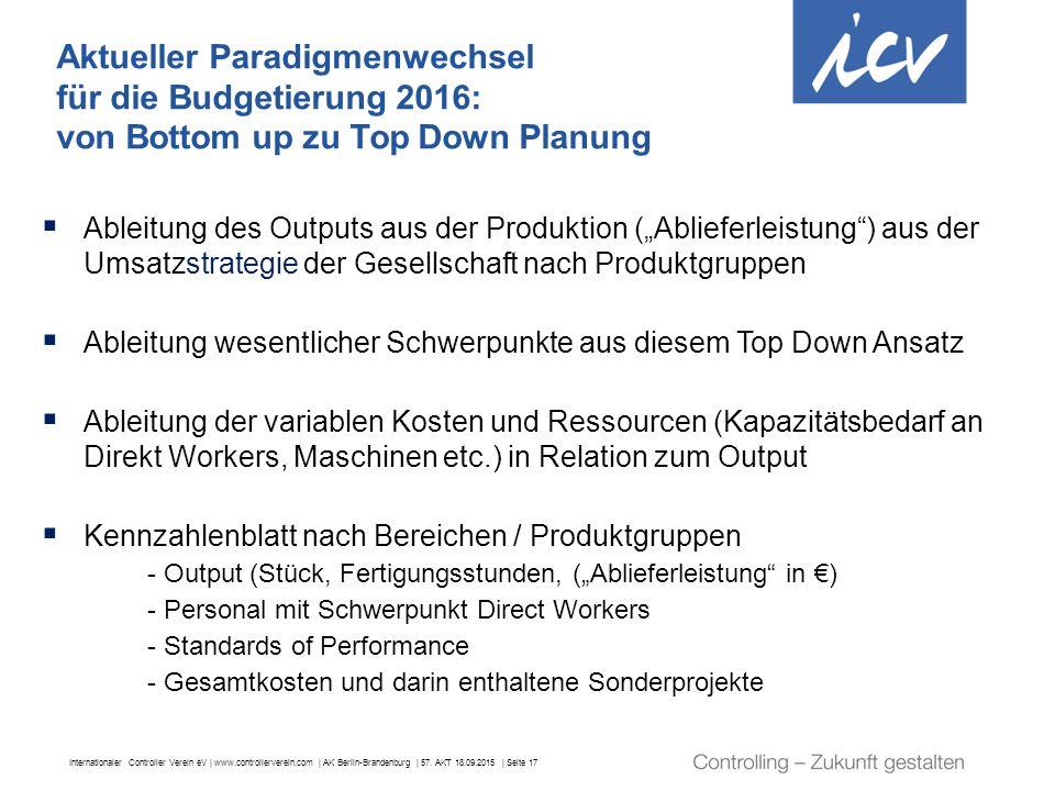 Internationaler Controller Verein eV | www.controllerverein.com | AK Berlin-Brandenburg | 57. AKT 18.09.2015 | Seite 17  Ableitung des Outputs aus de