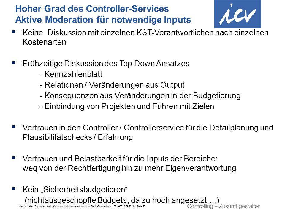 Internationaler Controller Verein eV | www.controllerverein.com | AK Berlin-Brandenburg | 57. AKT 18.09.2015 | Seite 20 Hoher Grad des Controller-Serv