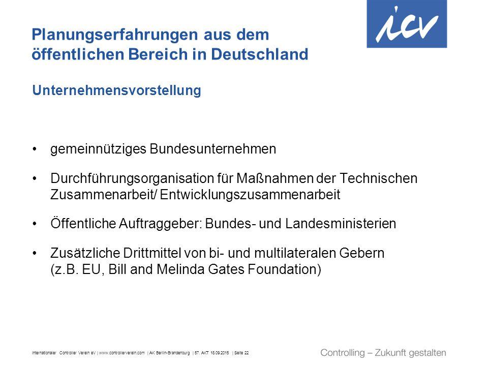 Internationaler Controller Verein eV | www.controllerverein.com | AK Berlin-Brandenburg | 57. AKT 18.09.2015 | Seite 22 Unternehmensvorstellung gemein